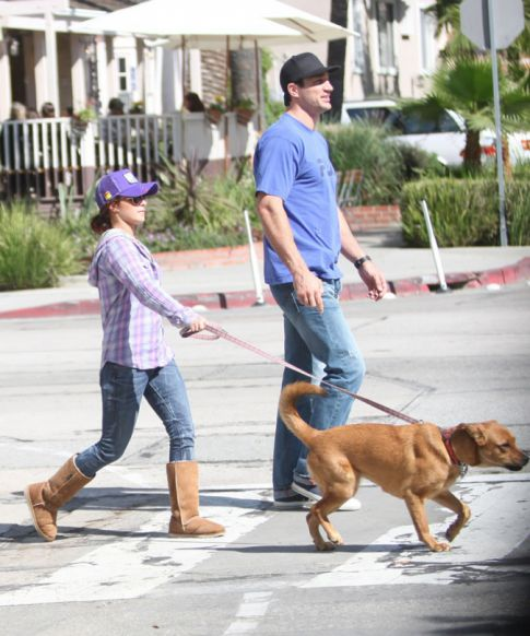 Hayden Panettiere Takes Her Two Dogs On A Walk