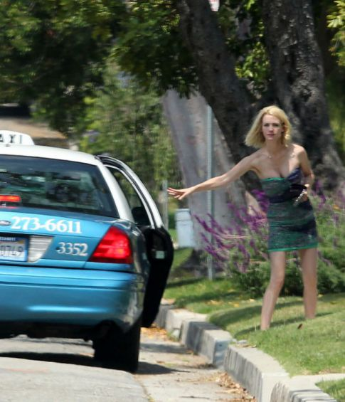 January Jones Causes A Crazy Wreck, But Can't Handle The 'Commotion' And Flees