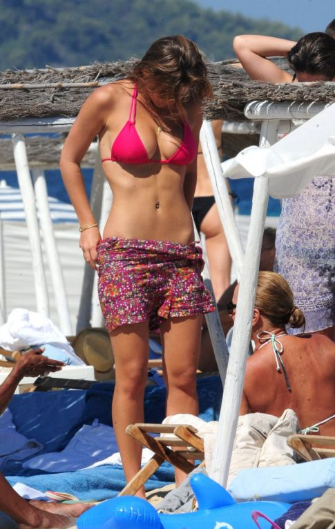 Bar Rafaeli Hits the Beach in a Hot Pink Bikini