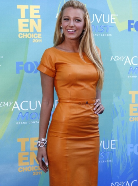Teen Choice Hottie #2: Blake Lively's Orange Leather Delight