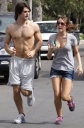 Miley and Justin Oblivious to Traffic, Jog in Street